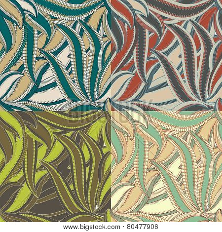 Seamless vintage floral pattern with leafs