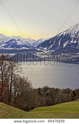 Sunrise Over The Thun Lake In Switzerland In Winter