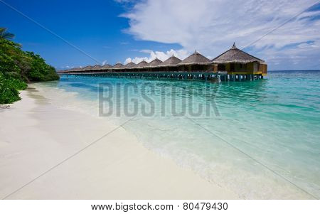 Water bungalows close to the shore, Maldives