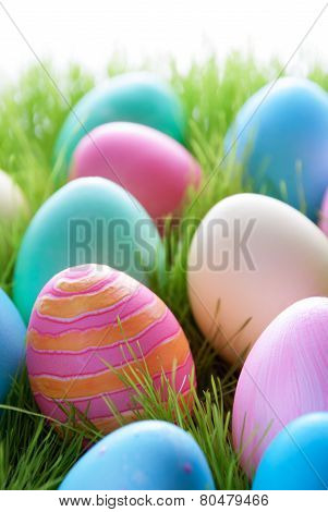 Colorful Easter Eggs On Green Gass