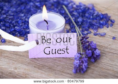 Purple Label With Text Be Our Guest