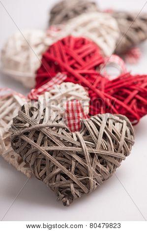 Closeup image of decorative hearts