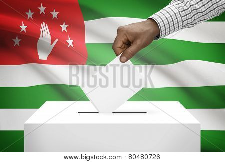 Ballot Box With National Flag On Background - Abkhazia