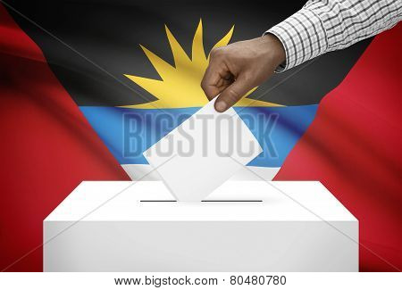 Ballot Box With National Flag On Background - Antigua And Barbuda
