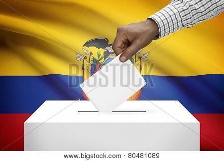 Ballot Box With National Flag On Background - Ecuador