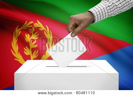 Ballot Box With National Flag On Background - Eritrea