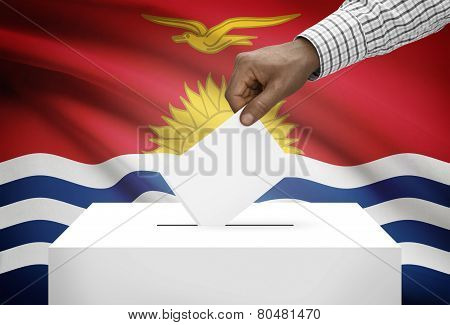 Ballot Box With National Flag On Background - Kiribati