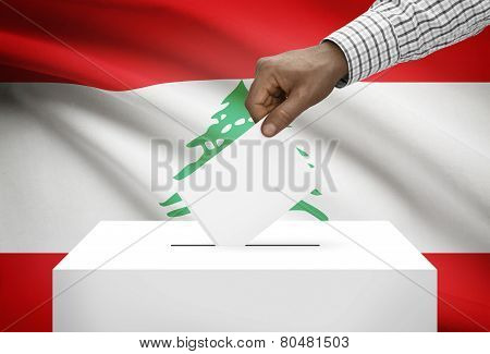 Ballot Box With National Flag On Background - Lebanon