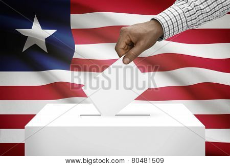 Ballot Box With National Flag On Background - Liberia