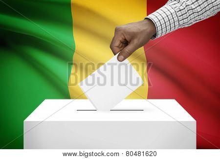 Ballot Box With National Flag On Background - Mali