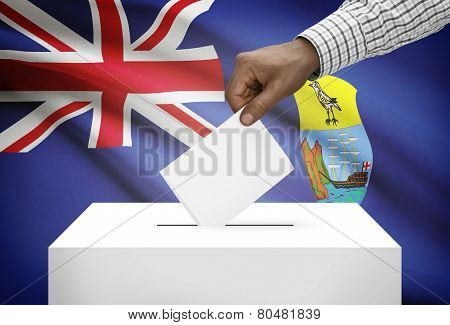 Ballot Box With National Flag On Background - Saint Helena