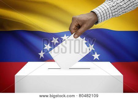 Ballot Box With National Flag On Background - Venezuela