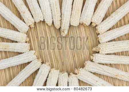 Heart Shape Made Of Corn Cobs