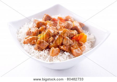 Home Made Sweet And Sour Pork On White Rice