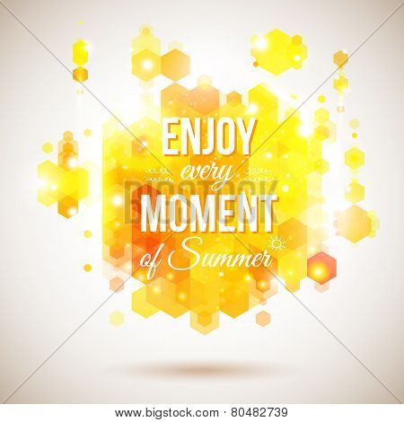 Enjoy every moment of Summer. Positive and bright yellow poster.