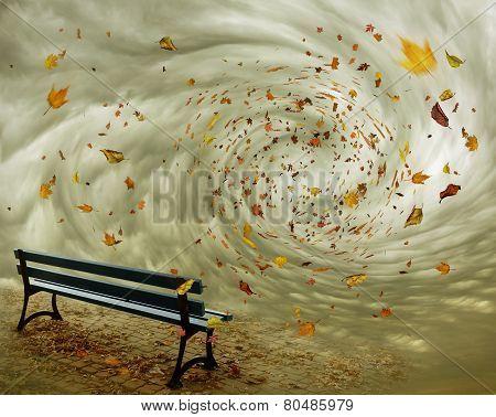 Fantasy Bench In Autumn
