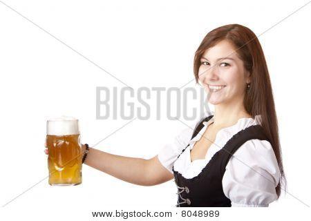 Beautiful woman stems Oktoberfest beer stein.