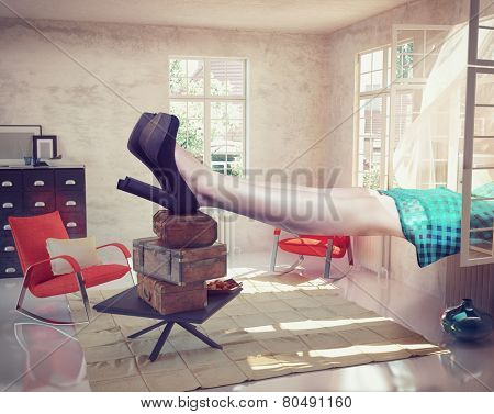 large woman resting in the interior. Photo combination concept