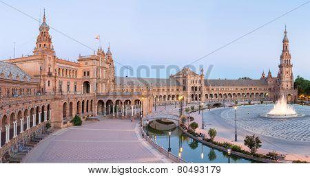 Panorama Spanish Square espana Plaza in Sevilla Spain at dusk