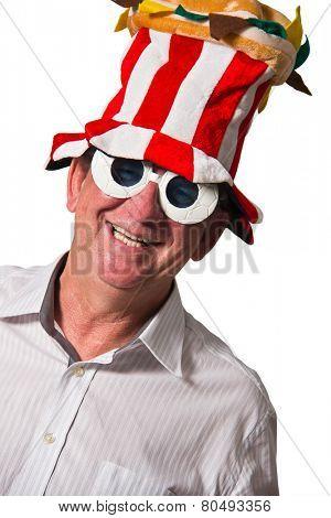 Brazilian man closeup smiling on white background wearing a costume