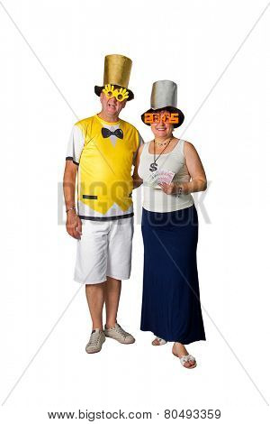 Brazilian couple smiling in a 2015 New Year on white background
