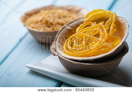 Indian popular sweet - jalebi, with spicy sev (fried noodles)
