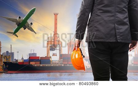 Working Man On Duty In Container  Ship Port Corgo Logistic Use For Shipping And Freight Service Busi