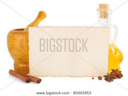 food spice and paper isolated on white background