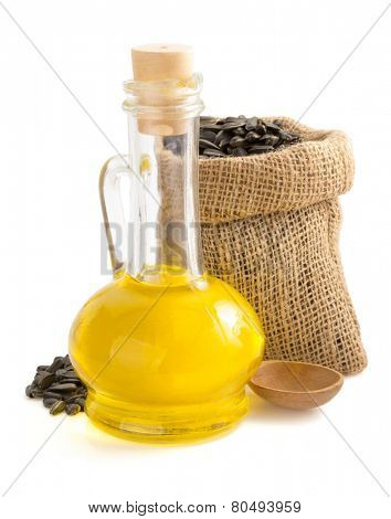 sunflower oil and seeds in bag isolated on white background