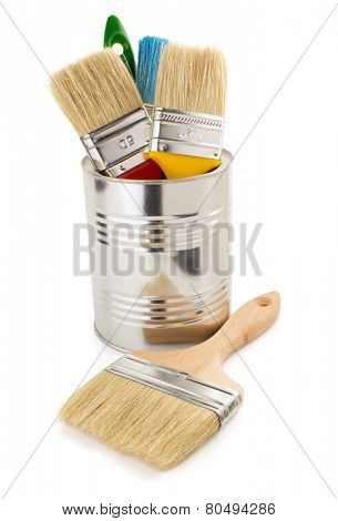 paint bucket and paintbrush isolated on white background