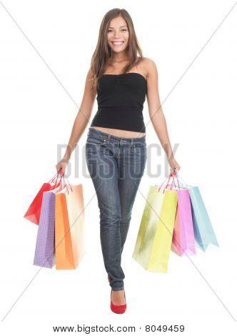 Shopping Woman On White Background
