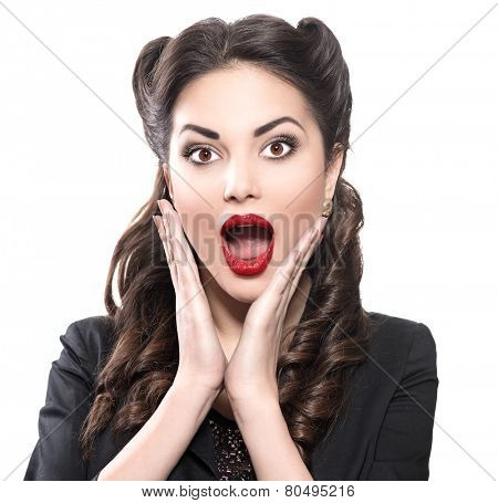 Surprised retro woman. Retro Woman Portrait. Surprised Luxury Lady. Beautiful Woman. Vintage Styled Photo isolated on white background
