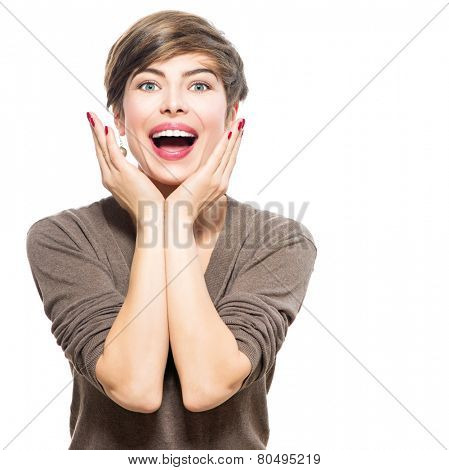 Surprised woman. Young emotional beauty woman looking excited. Isolated on white background. Broadly smiling modern girl with shot brown hair expressing positive surprised emotions, smile with teeth.