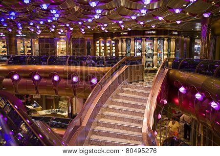 FORT LAUDERDALE, FLORIDA-MARCH 22:  The interior lobby on the Carnival Freedom cruise ship is ready for tourists on its Caribbean cruise departing March 22, 2009 from Ft. Lauderdale.