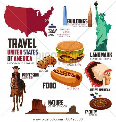 Infographic Elements For Traveling To Usa