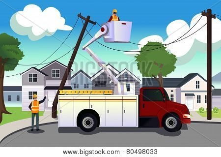 Worker Fixing Broken Power Lines