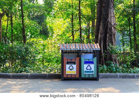 Garbage Bin In Park