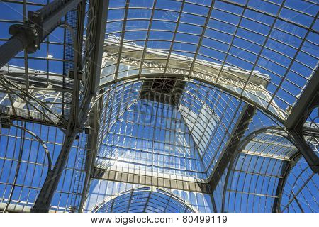 Historical Crystal Palace in the Retiro park Madrid, Spain