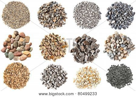 Set Of Various Gravels And Pebbles Textures