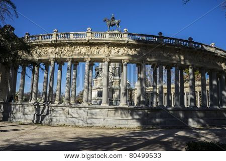 Monument to King Alfonso XII, Lake in Retiro park, Madrid Spain