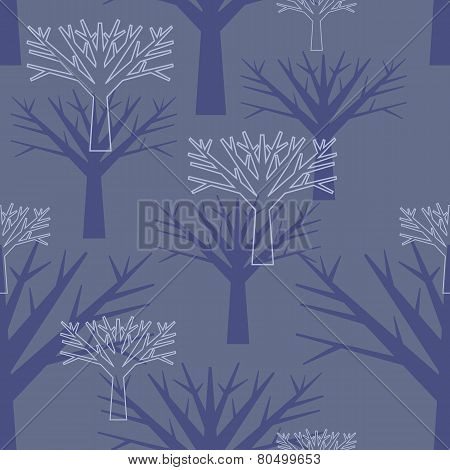 vector seamless background, silhouettes of trees