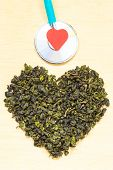 ������, ������: Green Tea Leaves Heart Shaped And Stethoscope