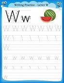 stock photo of kindergarten  - Writing practice letter W printable worksheet with clip art for preschool  - JPG