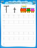 picture of kindergarten  - Writing practice letter T printable worksheet with clip art for preschool  - JPG