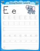 foto of kindergarten  - Writing practice letter E printable worksheet for preschool  - JPG