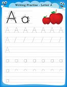 image of writing  - Writing practice letter A printable worksheet for preschool  - JPG