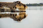 foto of raft  - The Rafting river sky floating cottages water a little cottage - JPG