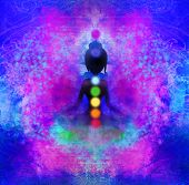 stock photo of padmasana  - Yoga woman silhouette in lotus pose - JPG