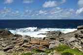 stock photo of breaker  - The rocks and the breakers of the Southern ocean at the south coast of Kangaroo island in Australia - JPG