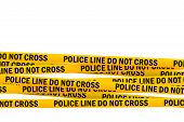 image of headband  - Police Line Do Not Cross Yellow Headband Tape isolated on white Background with Clipping PAth - JPG